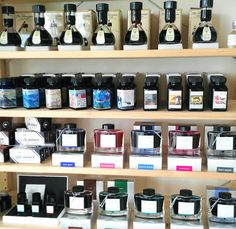 The great wall of inks is growing - we have Akkerman, Snake Ink, Pilot, Parker, Iroshizuku, J Herbin and Noodlers.