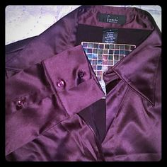 * 25% OFF BUNDLES * - Frenchi Button Down Nordstrom  Designer: Frenchi Burgundy, Wine, Deep Plum Color Blouse, Top, Button Down, Long Sleeve Size Large 3 Button Sleeves 67% Polyester / 30% Nylon / 4% Spandex * 1 small imperfection (photo 4) - so small it's hard to see NWOT - NEVER WORN   Beautiful blouse with a silky, satiny look & feel.  Looks great tucked in with a pencil skirt!  Great deep v-neck line and silhouette.  * 1st photo shows the color of the top best Frenchi Tops Button Down…