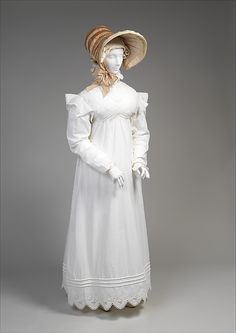 Morning dress Date: ca. 1819 Culture: British Medium: cotton Dimensions: Length at CB: 60 in. (152.4 cm) Credit Line: Purchase, Irene Lewisohn Bequest, 1977 Accession Number: 1977.309.2