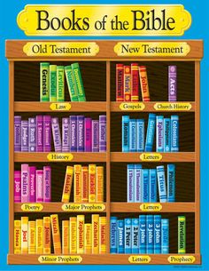 "Introduce all the books of the Bible with this colorful chart. Explore which books are part of the Old Testament and which are in the New Testament. Shelving tags indicate the type of book to further enhance learning. Reproducibles, teaching tips, and information on back. 17"" x 22"" classroom size. Sturdy and durable."