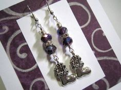 Silver Santa's Boot Christmas Earrings with Purple Sparkly Crystal Faceted Rondelles