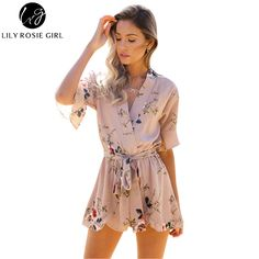 081ca9689d9 Boho Red Floral Print Ruffles Playsuits Women Elegant Autumn White V Neck Jumpsuits  Rompers Sexy Beach Girls Short Overalls