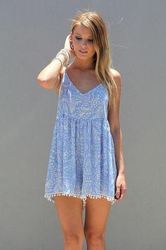 Pale blue mini dress for summer