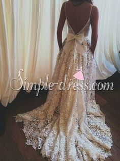 Buy Simple-dress 2015 Elegant A-line Backless Spaghetti Court Train Lace Wedding Dress LAWD-81143 A-Line Wedding Dresses under US$ 212.99 only in SimpleDress.