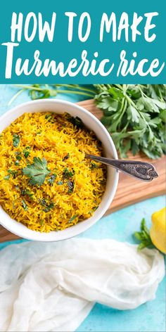 mediterranean recipes This vibrant Turmeric Rice Recipe is a fast and easy side dish perfect for brightening up your weeknight dinner. Jasmine Rice Recipes, Easy Rice Recipes, Side Dish Recipes, Healthy Recipes, Easy Indian Recipes, Yellow Rice Recipes, Jasmine Rice Recipe Indian, Healthy Nutrition, Indian Potato Recipes