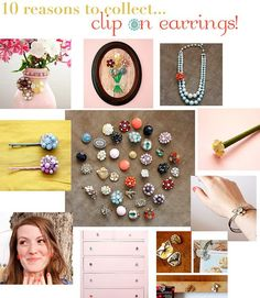 Vintage Jewelry Art 10 Ways to Repurpose Clip-On Earrings! Oh, how I wish I'd saved all that old jewelry of Great Gramma Clark's that I use to play with. Vintage Jewelry Crafts, Old Jewelry, Jewelry Art, Antique Jewelry, Handmade Jewelry, Jewelry Design, Fashion Jewelry, Jewelry Making, Jewelry Ideas