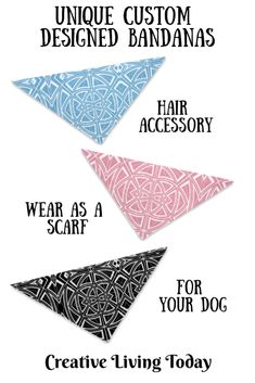 Unique Custom Designed Bandanas for Your Hair, Outfit or Your Dog in Geometric Designs in Blue, Pink and Black and white. Great gift for your favorite lady. Christmas Gifts For Kids, Kids Gifts, Cute Birthday Gift, Presents For Kids, Childrens Gifts, Personalized Christmas Ornaments, Fun Activities For Kids, Business For Kids, Geometric Designs
