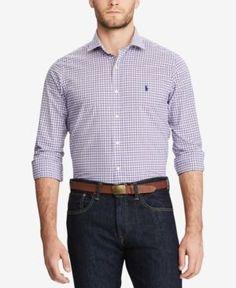 Polo Ralph Lauren Men's Slim-Fit Poplin Shirt - Lavender/White Multi XXL