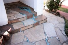 Blue Glass Mosaic Porch dolphins in blue glass river