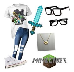 """Nerdy Gamer Girl Outfit"" by mimi-minecrafter ❤ liked on Polyvore featuring Converse and Retrò"