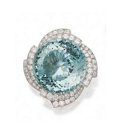 Aquamarine and Diamond Brooch, David Webb