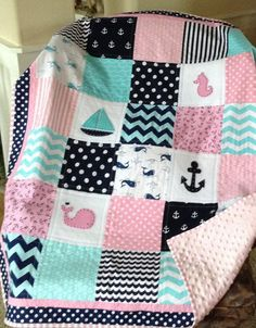 SET INCLUDES: QUILT, CRIB SKIRT, PILLOW  This NAUTICAL CRIB SET is Lovesewnseams signature style. Sailboat, anchor, whale and Seahorse Appliques.