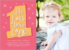 The First Year Girl 5x7 Photo Card By Shutterfly 1st Birthday Invitations Cards