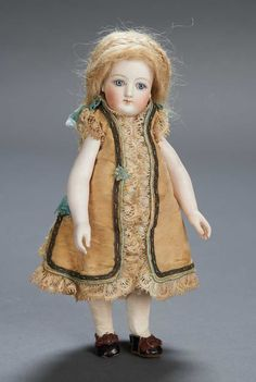 """View Catalog Item - Theriault's Antique Doll Auctions 7"""" French all-bisque by Gaultier with original costume"""