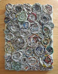 """Coiled newspaper yarn art project created for my """"Upcycled Art"""" seminar"""