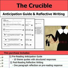 reflective essay on the crucible The crucible morality essay the crucible: a boral battle morals are a big part of the crucible because a moral is a person's principle of right or wrong in the .
