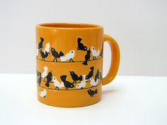 Vintage Waechtersbach Coffee Mug, Yellow with Embossed Birds on the Wire, W. Germany, Rare