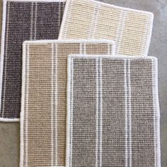 Just in!! A handsome set of stripes in an array of Autumn neutrals. A cozy wool loop with a bit of a poly accent. Feels like fall and fast approaching! @momeni_rugs #colonyrugshowroom #woolcarpet #stripedcarpet #newsamples #neutraldesign
