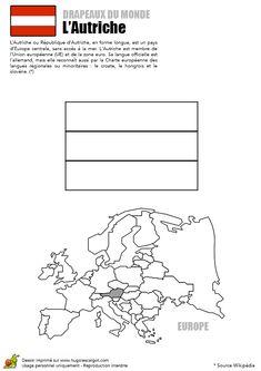 Le drapeau de l'Autriche dans un dessin à colorier