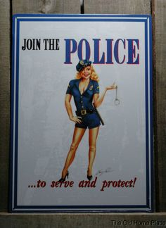 JOIN THE POLICE WITH HOT PIN-UP GIRL Tin Sign Man Cave Garage Bar Metal Signs #Unbranded #Traditional