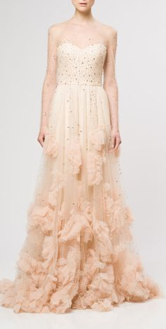 Beaded Ruffled Gown / Reem Acra >> Love the color! Such a beautiful gown!