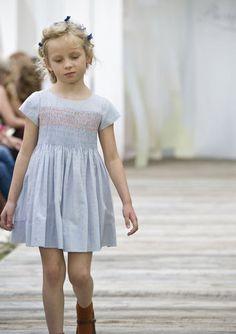 grey cotton summer dress with pink smocking — Bonpoint Spring Summer 2013