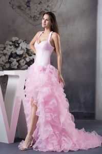 Halter Top Pink High-low Evening Wear Dresses with Ruffles