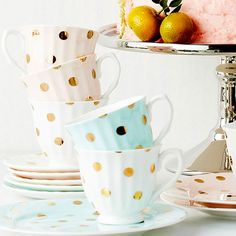 Polka dot teacups with rose gold accents - who fancies a tea party?