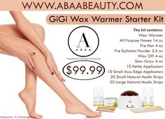 With the GiGi Student Starter Kit, students are able to practice correct waxing techniques using professional grade products. The kit contains everything a student needs to practice and perform a complete waxing service. Shop Online: http://www.abaabeauty.com/collections/hair-removal/products/gig010