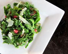 Kale & Swiss Chard Salad with Orange Ginger Vinaigrette and Pomegranate