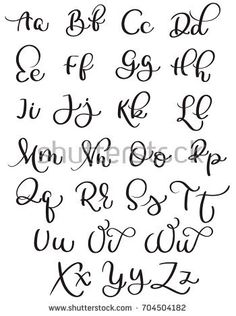 vintage alphabet on white background. Hand drawn Calligraphy