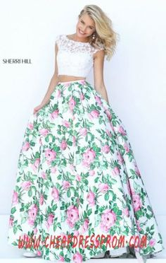 Keyhole Sherri Hill 50492 Two-Piece 2016 Printed Ivory/Pink Cap-Sleeves Long Evening Gown