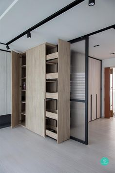 These Built-In Ideas Are Game Changers For Messy Homes - Have a look at these 6 built-in storage ideas for your new home renovation. Home Renovation, Home Remodeling, Bedroom Closet Doors, Condo Interior, Hidden Rooms, Hidden Closet, Unique House Design, Secret Rooms, Closet Designs