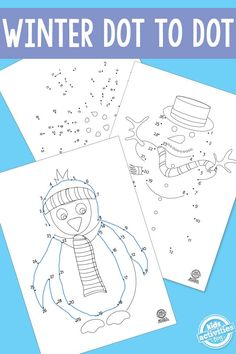 Winter Dot to Dot Printable Worksheets for Preschoolers Connect the dots and make a creative artwork of your own.Indoor winter activities for kids! Winter Activities For Kids, Winter Crafts For Kids, Winter Kids, Christmas Activities, Preschool Winter, Preschool Worksheets, Preschool Activities, Printable Worksheets, Free Printables