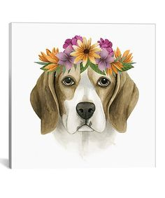 Look at this #zulilyfind! Flower Crown Pup IV Gallery-Wrapped Canvas #zulilyfinds