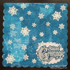 I used my Gelli Plate to print the snowflake background with PaperArtsy paint. Stamps from The Artisitic Stamper.