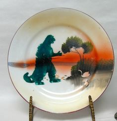 Vintage Plate Godzilla Movie Monster Home Decor Altered vintage wall plate sunset