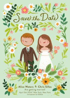 Whimsical and sweet custom illustrated portrait save the date card - diy - print it yourself