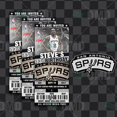 San Antonio Spurs Sports Ticket Style Party Invites