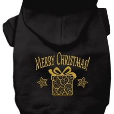 """Golden Christmas Present"" Dog Hoodie by Mirage Pet Products (Black)"