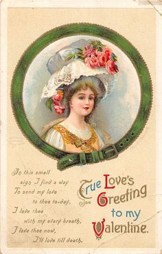 A7 Valentine's Day Love Holiday Postcard 1912 s Sarre Woman Large Hat 35 | eBay