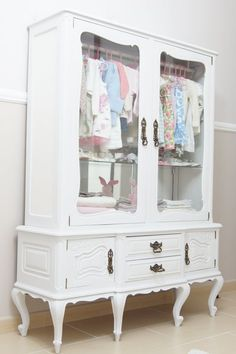 Repurpose a vintage china cabinet into a little girl's clothing armoire: paint a pretty updated color + add rod for hanging clothes-- use optional shelves for folded clothes or add cute storage baskets, leave glass doors uncovered or add pretty fabric. Furniture Projects, Furniture Makeover, Diy Furniture, Dresser Makeovers, Nursery Furniture, Furniture Storage, Accent Furniture, Antique Furniture, Furniture Design