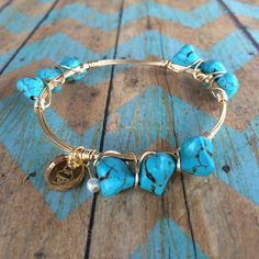 Turquoise Howlite Nugget Wire Wrapped Bangle by CYPJewelry on Etsy || @clutchyourpearls on Instagram