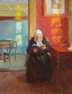 Anna Ancher (Danish artist) 1859 - 1935 Interior from the Red Room with the Artist's Mother Ane Brøndum Reading, 1910 aka Ane Brøndum i den Røde Stue (Ane Brøndum in the Red Room) oil on canvas 63 x 49 cm. Art Painting, Artist Inspiration, Art Calendar, Light Painting, Amazing Art, Artist, Painting, Illustration Art, Art World