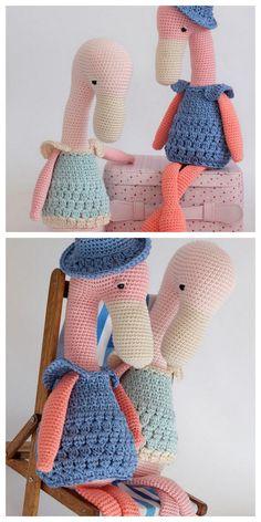 Amigurumi Flamingo Free Pattern - Amigurumi Daily Crochet Flamingo, Crochet Elephant Pattern, Crochet Patterns Amigurumi, Crochet Dolls, Crochet Hats, Free Crochet, Crochet Ideas, Crochet Animals, Free Pattern