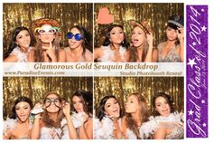 #PhotoBooth by http://www.paradiseevents.com/photo-booth-rental/ #PartyRentals #PartyIdeas #PhotoboothRental #Props #GoldBackdrop
