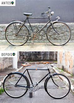 O Fabio ganhou uma Philips do avô, que estava encostada e trouxe para cá. Pensamos num projeto classudo, mantendo o preto original e recuperando seus detalhes. Acabamento em couro feito a mão. Pedais originais e detalhes incríveis. Tá rodando por aí. Foto Raquel Espirito Santo Bicycle, Studio, Originals, Sao Paulo, Top Coat, Leather, Black, Bicycles, Bike