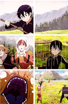 This scene was funny! XD Kirito from Sword Art Online... This was episode 13.