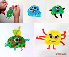 Potato Printed Monsters, everyday googly eyed fun for kids | MollyMoo
