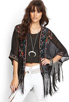 Embroidered Fringe Kimono | FOREVER21 - 2000068298